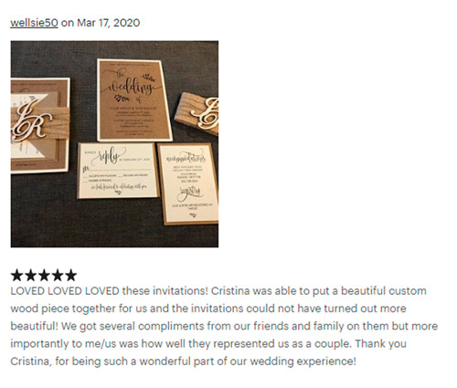 Review Wellsie Rustic Wedding Invitations