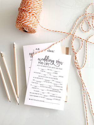A Fun Way to Entertain Your Wedding Guests with this Simple Mad-Libs